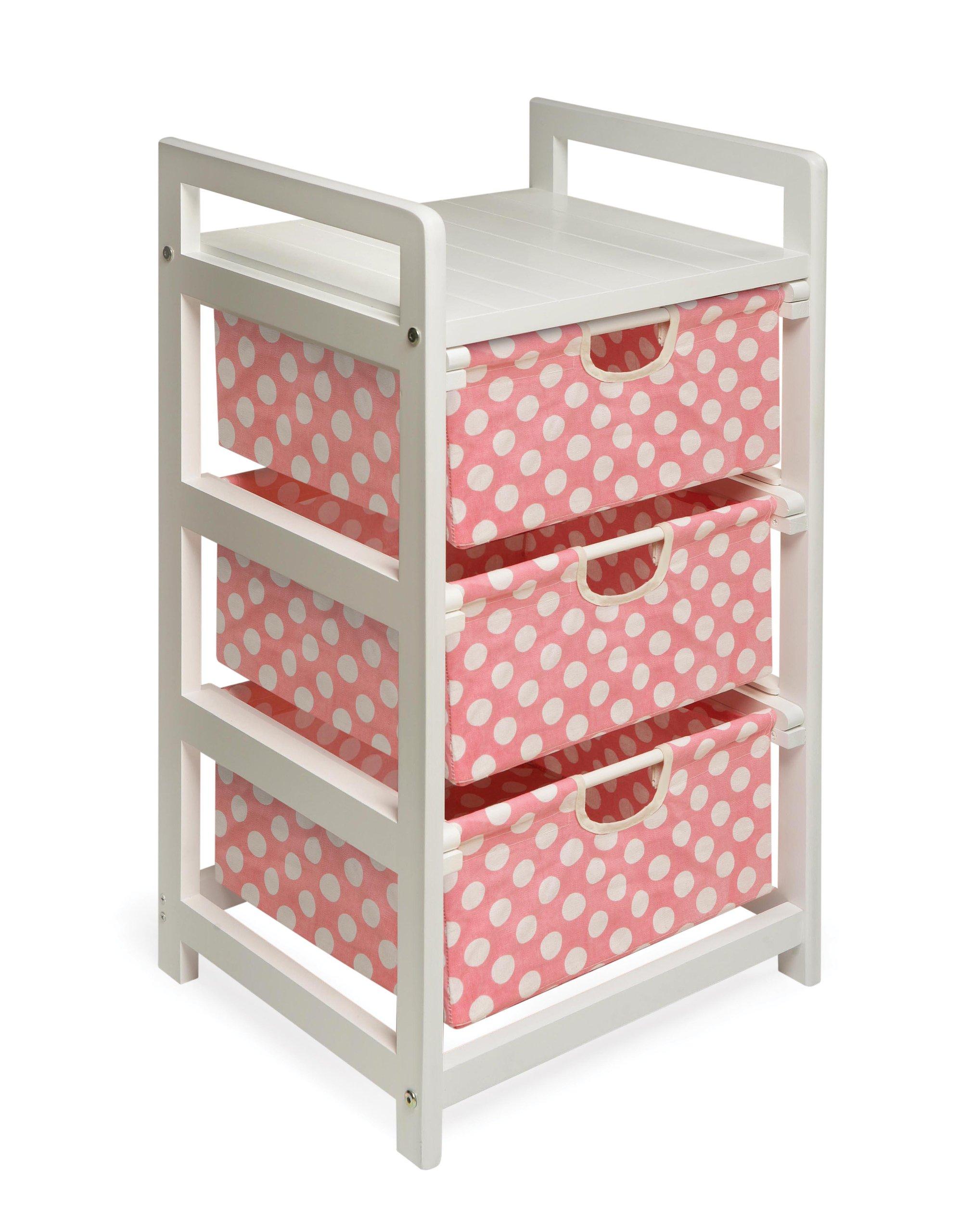 Three Drawer Hamper/Storage Unit White/Pink Polka Dot