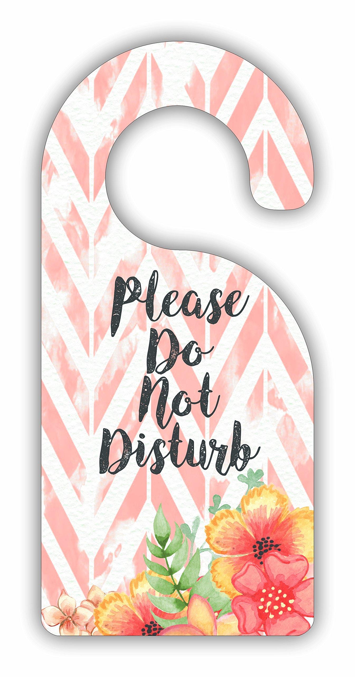 Please Do Not Disturb - Flowers on Pink Chevrons - Room Door Sign Hanger - Hardboard - Glossy Finish