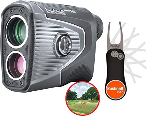 Bushnell Pro XE Golf Laser Rangefinder with Bushnell & PlayBetter Pitchfix Divot Tool