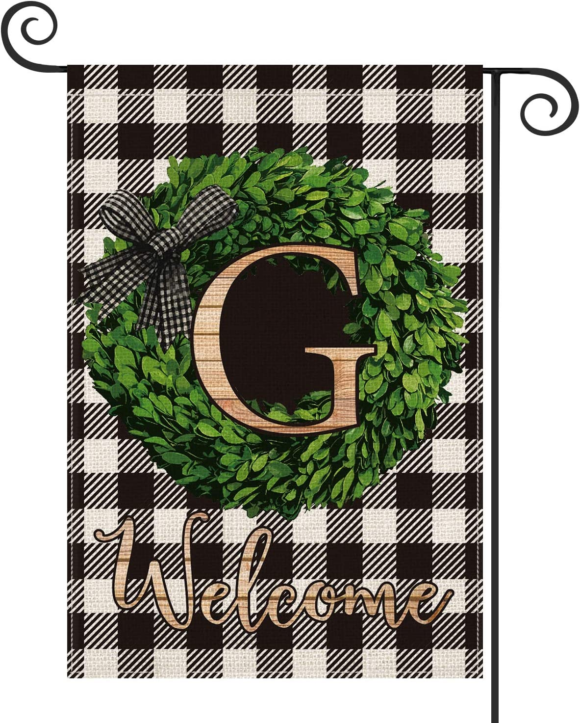 AVOIN Boxwood Wreath Monogram Initial Family Last Name G Garden Flag Vertical Double Sided, Welcome Buffalo Check Plaid Rustic Farmhouse Flag Yard Outdoor Decoration 12.5 x 18 Inch