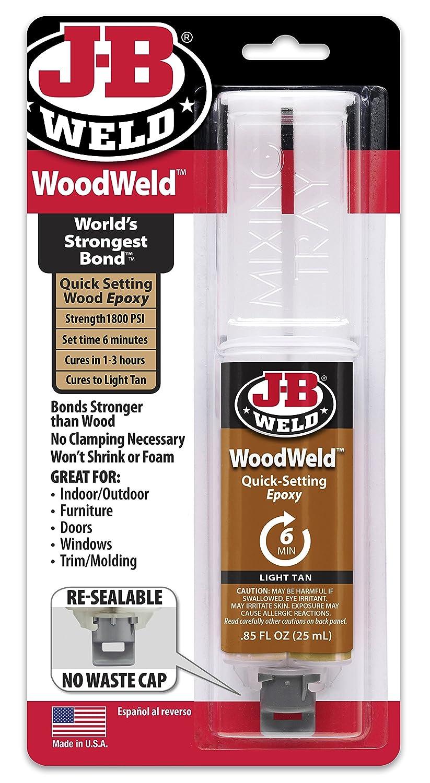 J-B Weld 50151 WoodWeld Epoxy Syringe - Light Tan -.85 fl. oz.