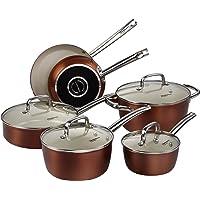 Batterie de cuisine Cooksmark Ceranano - 10pièces - Casseroles et poêles - En céramique - Anti-adhésives - Passent au lave-vaisselle, au four - Finition en cuivre