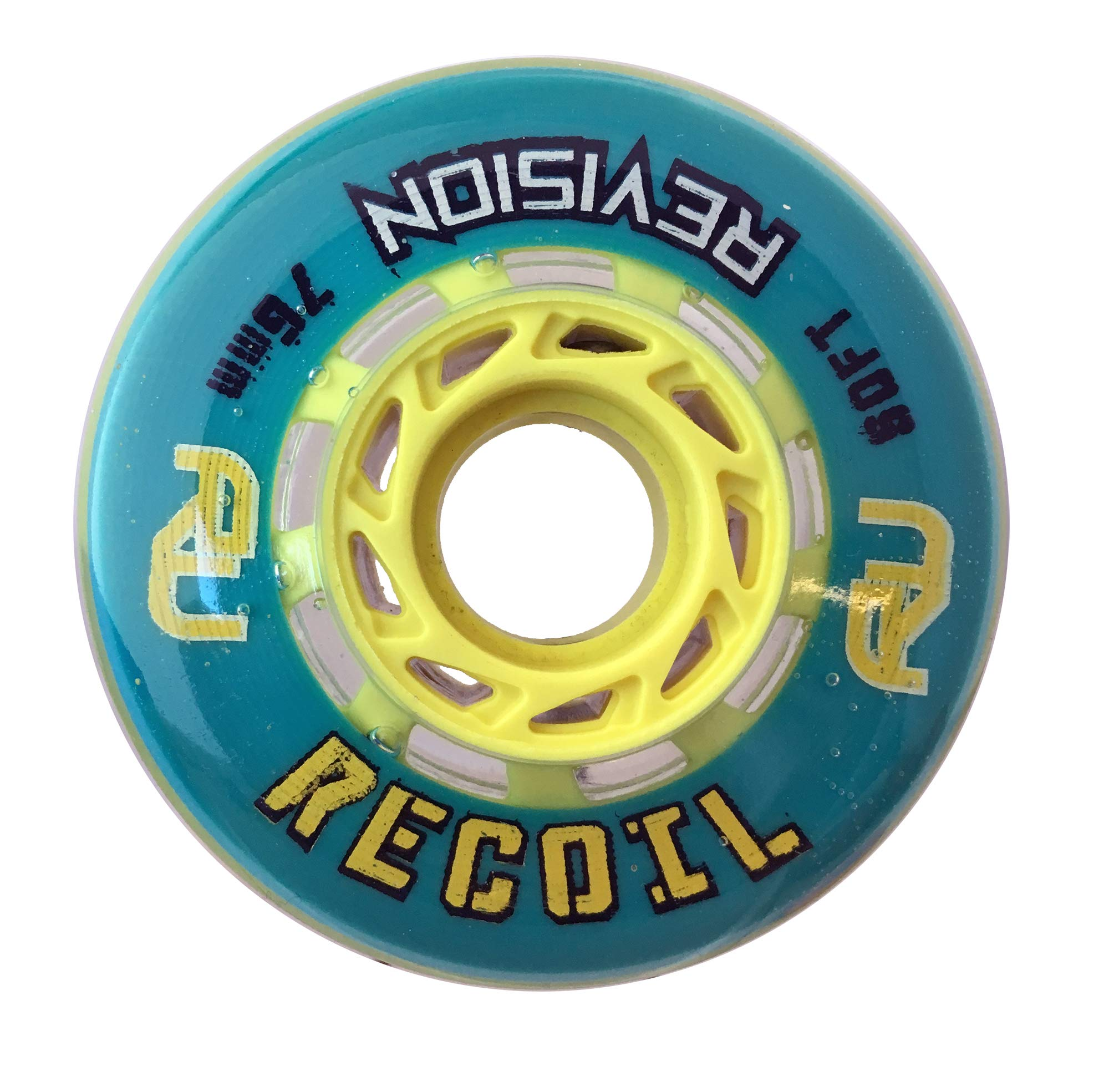 Revision Recoil Indoor Inline Roller Hockey Wheel - 74A - 76mm Soft - Teal & Yellow by Revision Hockey