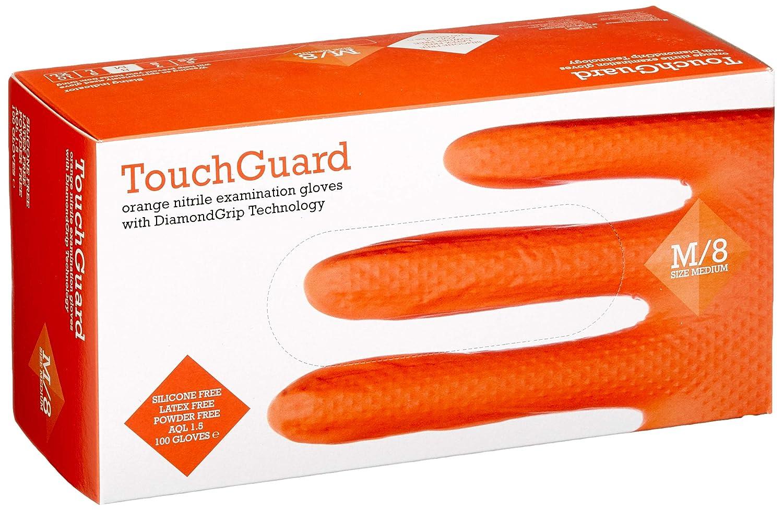 S TouchGuard Einweg-Handschuhe Box mit 100 St/ück Schwarz Nitril ohne Puder Gr Latex