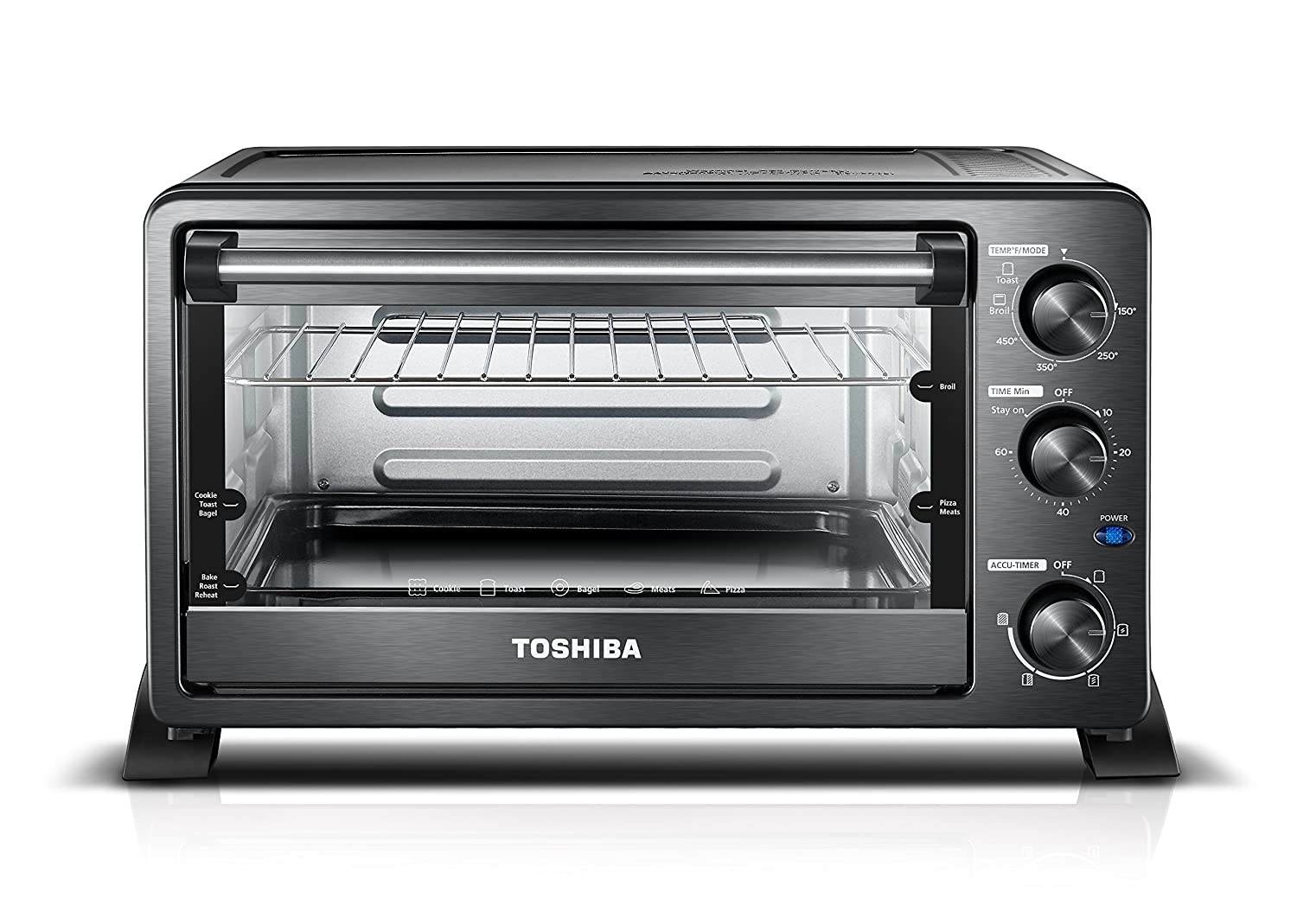 Toshiba MC25CEY-BS Mechanical oven with Convection/Toast/Bake/Broil Function 25 L capacity/6 Slices Bread/12-inch Pizza Black Stainless Steel