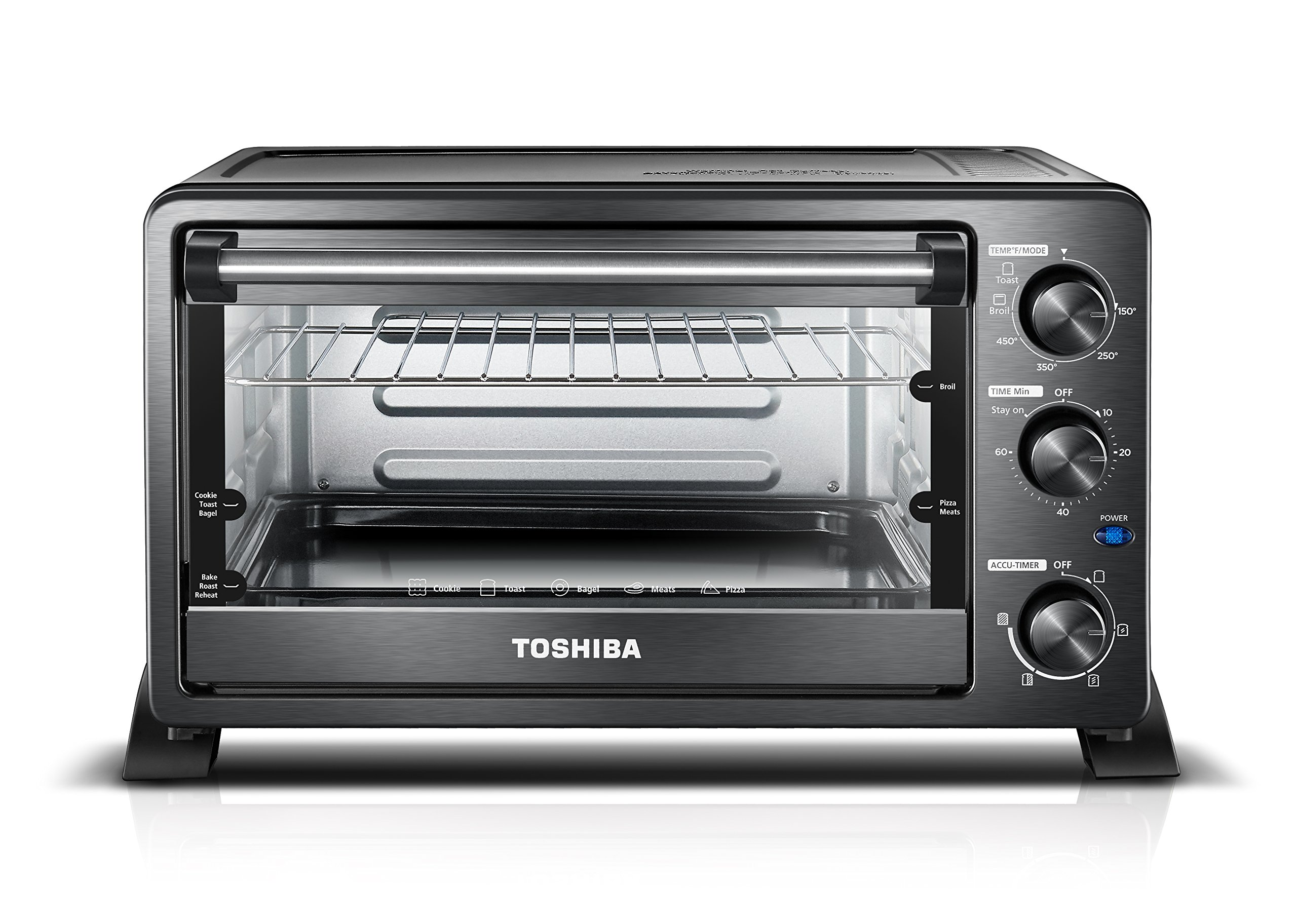 Toshiba MC25CEY-BS Mechanical Oven with Convection/Toast/Bake/Broil Function, 25 L Capacity/6 Slices Bread/12-inch Pizza, Black Stainless Steel by Toshiba