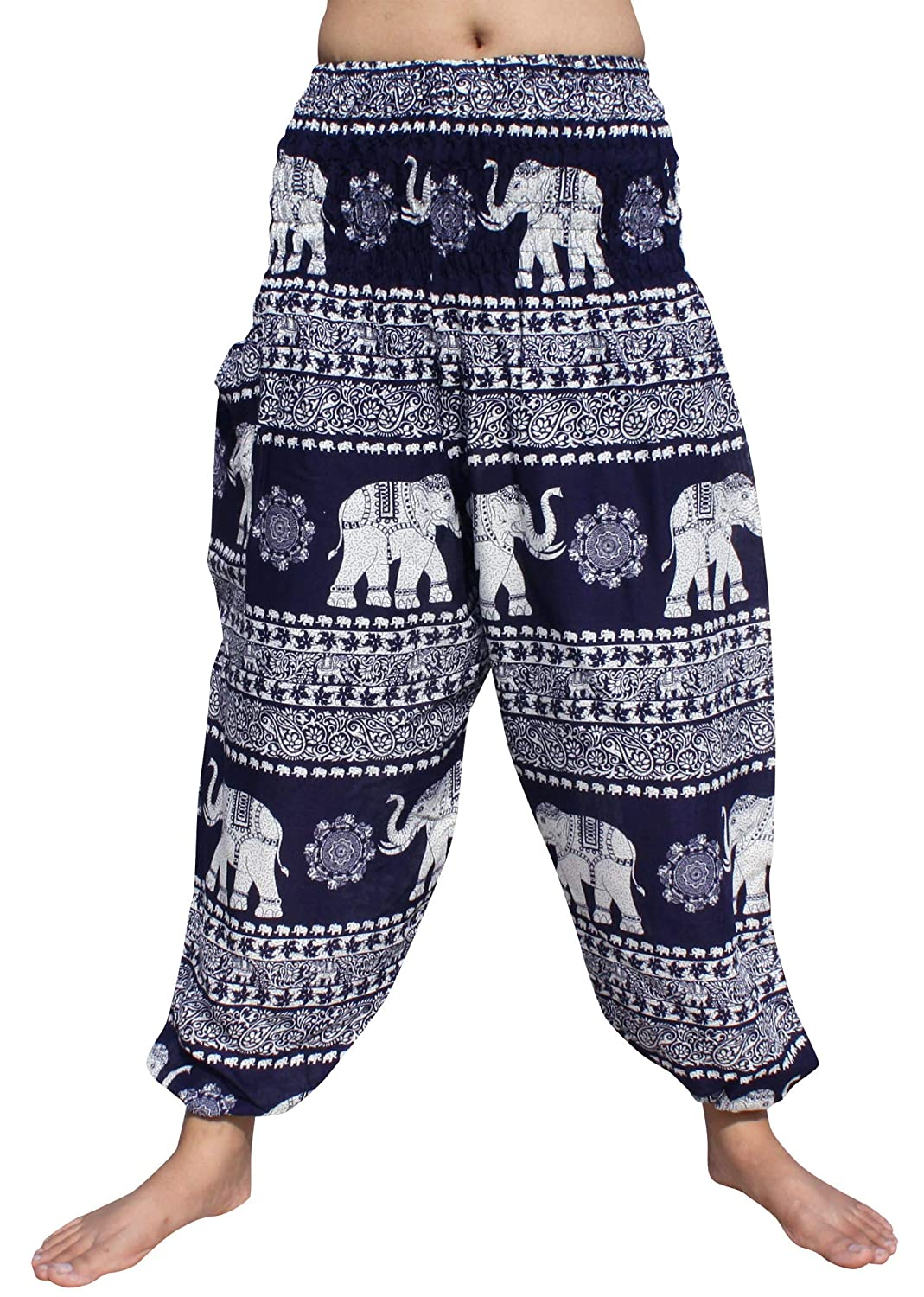 Elephant in Line Navy bluee Full Funk Smocked Waist Women's Yoga Palazzo Hippie Boho Harem Pants Elephants
