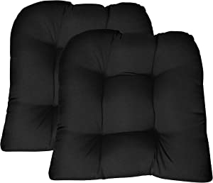 RSH DECOR Sunbrella Canvas Black Large 2 Piece Wicker Chair Cushion Set - Indoor/Outdoor Tufted Wicker Matching Chair Seat Cushions
