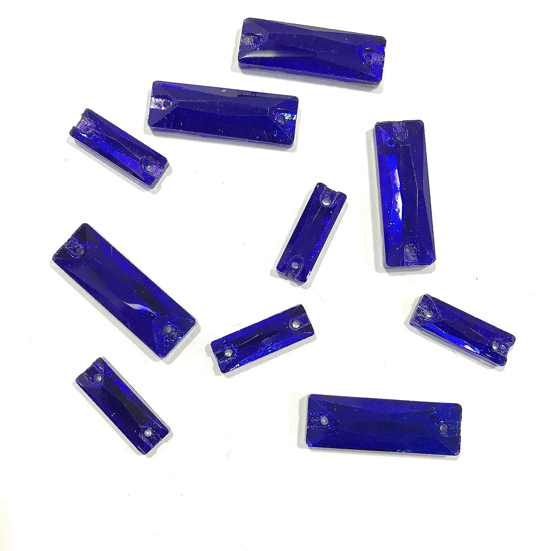 5 pz mm 18 + 5 pz mm 27 5.ZERO /® 10 Pezzi Pietre da Cucire in Vero Vetro colore Blu Elettrico