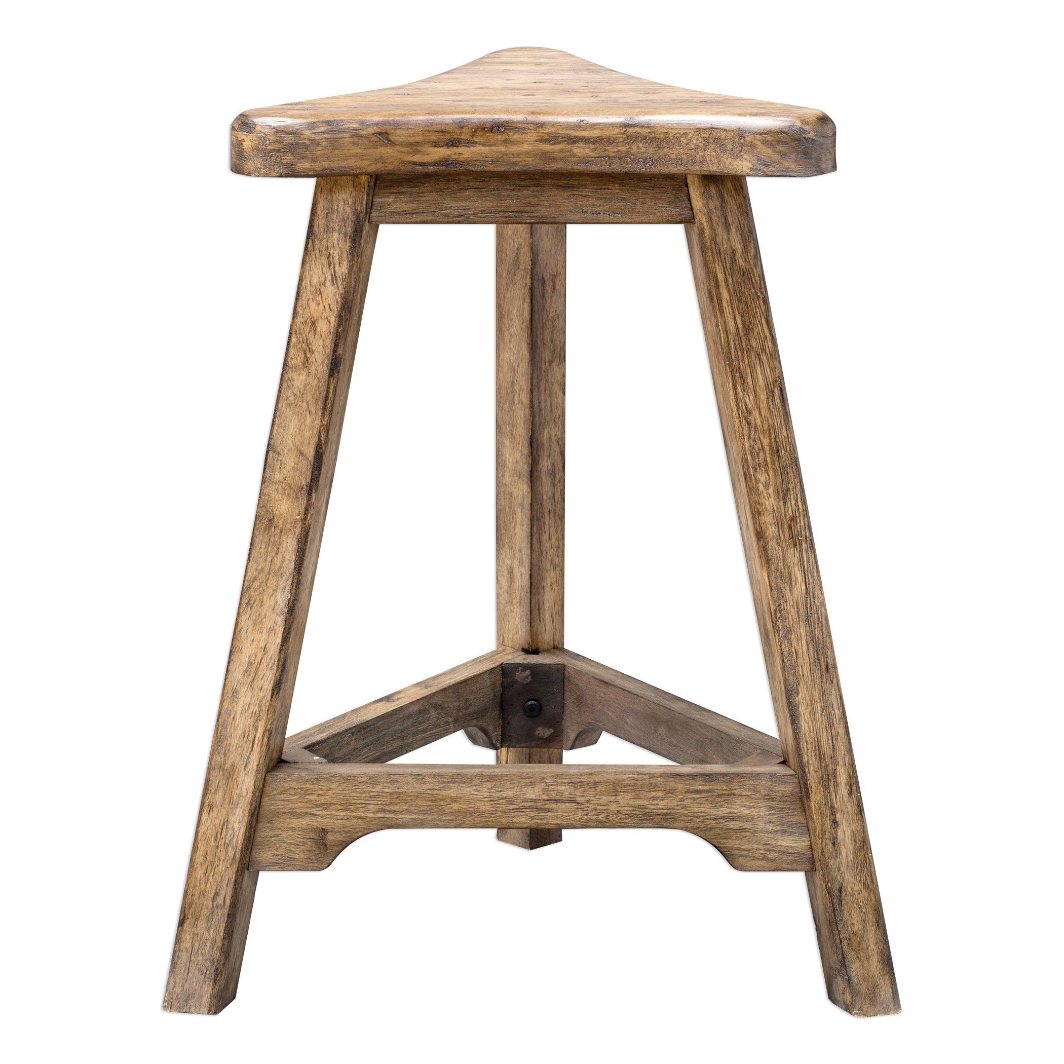 Distressed Weathered Oak Wood Triangle Counter Stool | Bar Minmalist Industrial