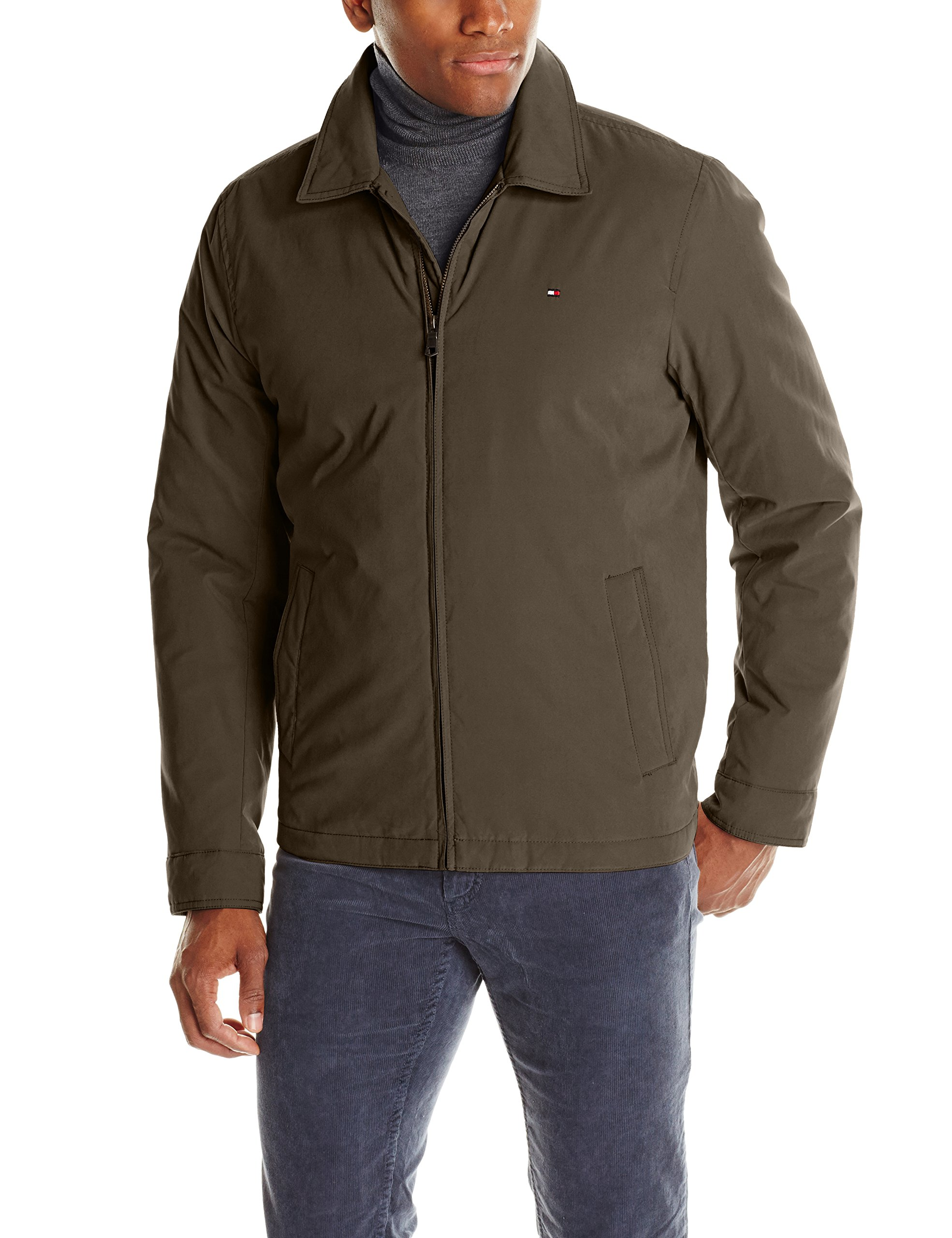Tommy Hilfiger Men's Micro-Twill Open Bottom Zip Front Jacket, Olive, Large