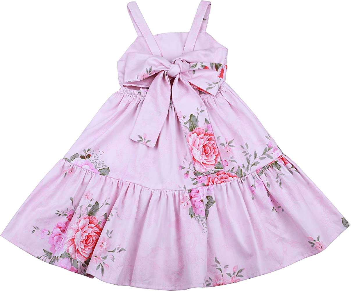 Flofallzique Vintage Floral Summer Girl Dress Easter Cotton Casual Toddler Party Sundress