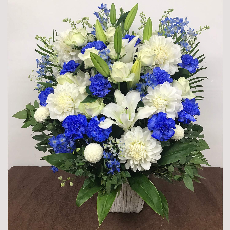 白と青のアレンジメント(LL)(サイズ 高さ:約75cm×幅:約40cm×奥行:約40cm) B07NDQVXD5