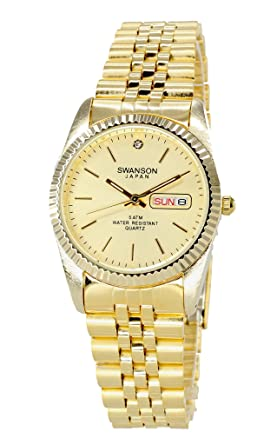Swanson Mens Gold Day-Date Watch Gold Dial