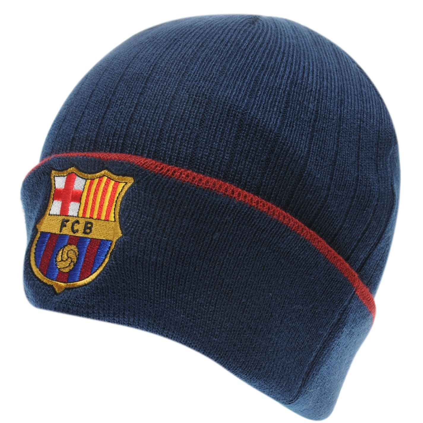 1609534f868 Team Mens Knit Beanie Hat Knitted Turned Up Cuff Crest Badge Mens  Barcelona  Amazon.co.uk  Clothing