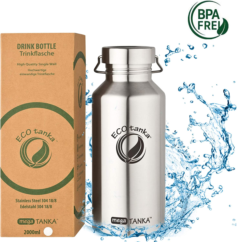 ECOtanka megaTANKA, 2000ml, Botella/Frasco de Acero Inoxidable, Libre de BPA, ecológico, Duradero, Robusto, Muy Ligero