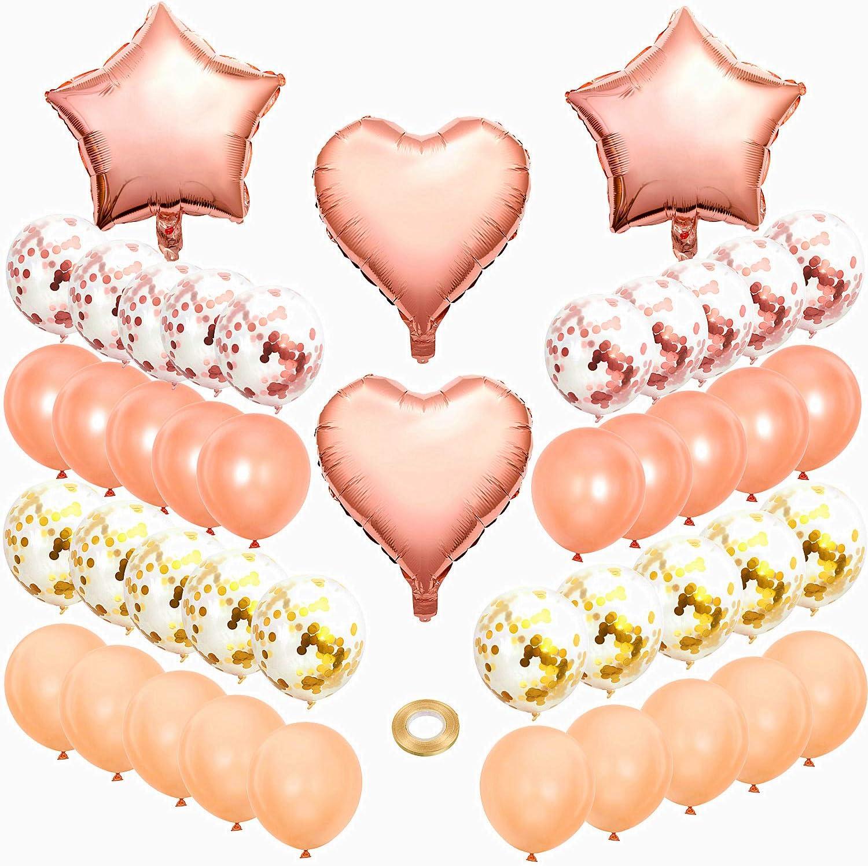 Rose Gold SPECOOL 36 Pi/èces Or Rose Confettis Ballons Kit F/ête Transparents avec Confettis Dor/és Ballon Chiffre /étoile et Coeur et Rubans pour D/écorations danniversaire Mariage