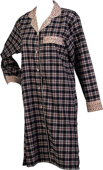 Nightshirt Ladies Navy Tartan Nighty Button Up Flower Detail 100/% Cotton Nightie