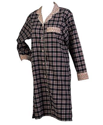 Waite Ltd Ladies 100% Combed Cotton Tartan Check Nightshirt Button Up  Flower Trim Nightie Small 23e9ca8de