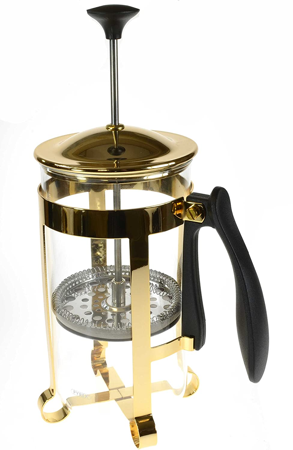 Bravilor Pyrex Cafetiere Coffee Press 8 Cup Gold Finish 1.0 Litre for Coffee or Tea