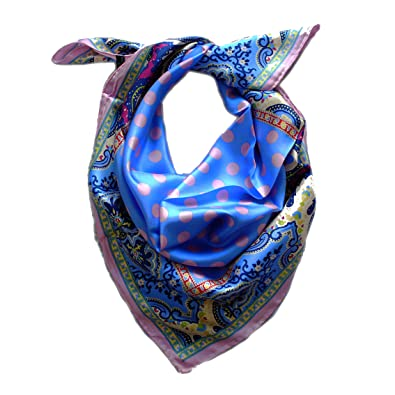 Foulard carré 90cm X 90cm, twill de 100% soie silk. Couleur bleu ... b9eb9dc7cd1