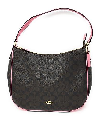 ... release date coach f29209 zip shoulder bag in signature canvas brown  pink 15d22 670b3 ... b150952d29