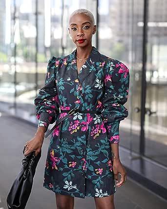 The Drop by @signedblake - Vestido para mujer con cierre de botones frontal y solapas, color negro y estampado floral