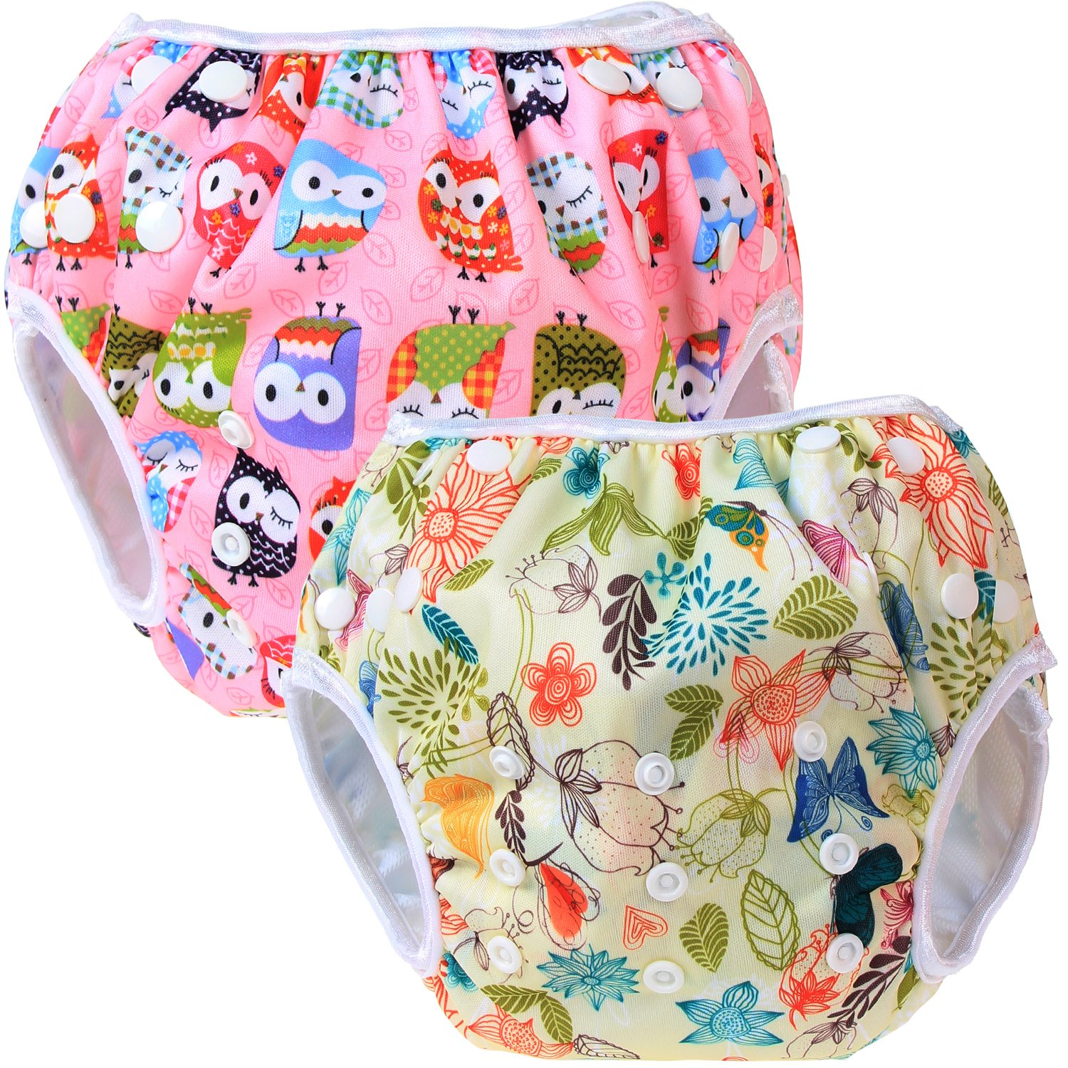 Teamoy Reusable Swim diapers Ideal for Swimming Lessons//Holiday 2 Pcs Pack Washable Swimming diapers for Baby Boys /& Girls
