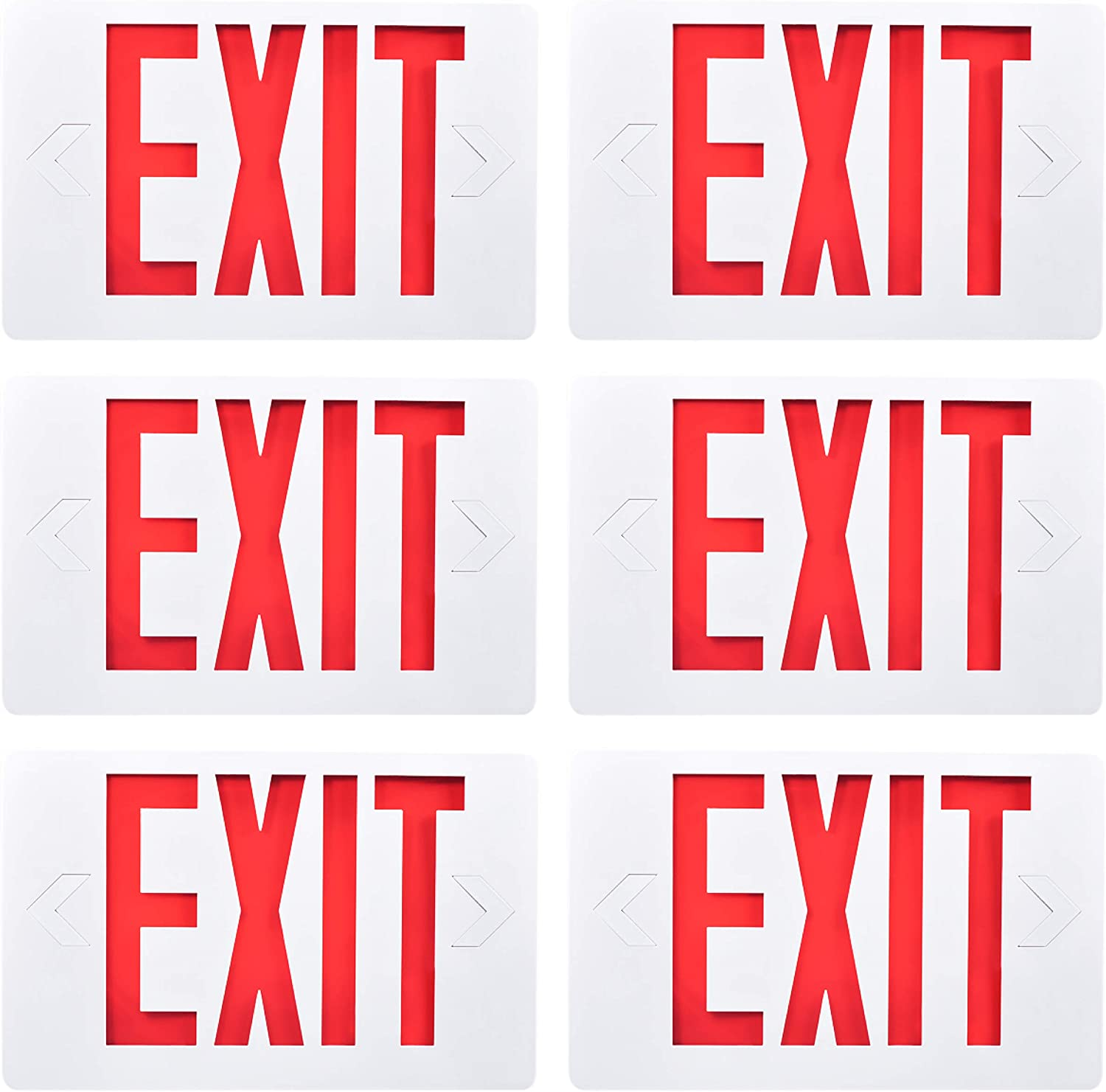 Sunco Lighting 6 Pack Double Sided LED Emergency EXIT Sign, Backup Battery, US Standard Red Letter Emergency Exit Lighting, Commercial Grade, 120-277V, Fire Resistant (UL 94V-0)