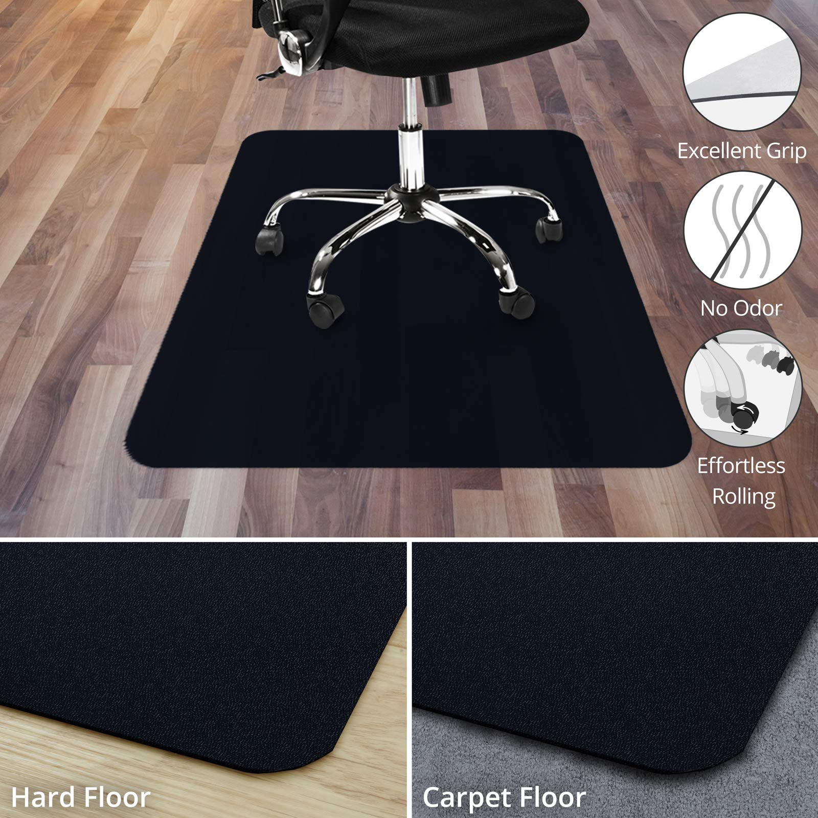 Office Marshal Black Office Chair Mat - 48'' x 60'' - Carpet Floor Protection - No-Recycling Material - High Impact Strength by OfficeMarshal