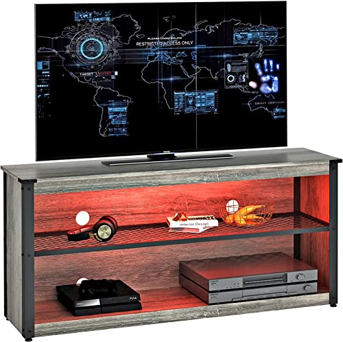 BESTIER Modern TV Stand 20 Color RGB Light Entertainment Center 55″ TV Console Mid-Metal Mesh Television Stands