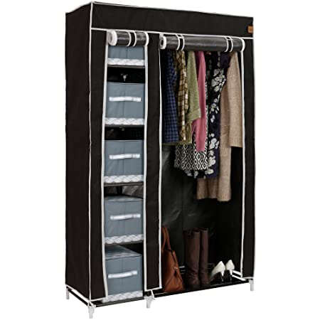 VonHaus Double Canvas Effect Wardrobe   Clothes Storage Cupboard With 6  Shelves U0026 Hanging Rail