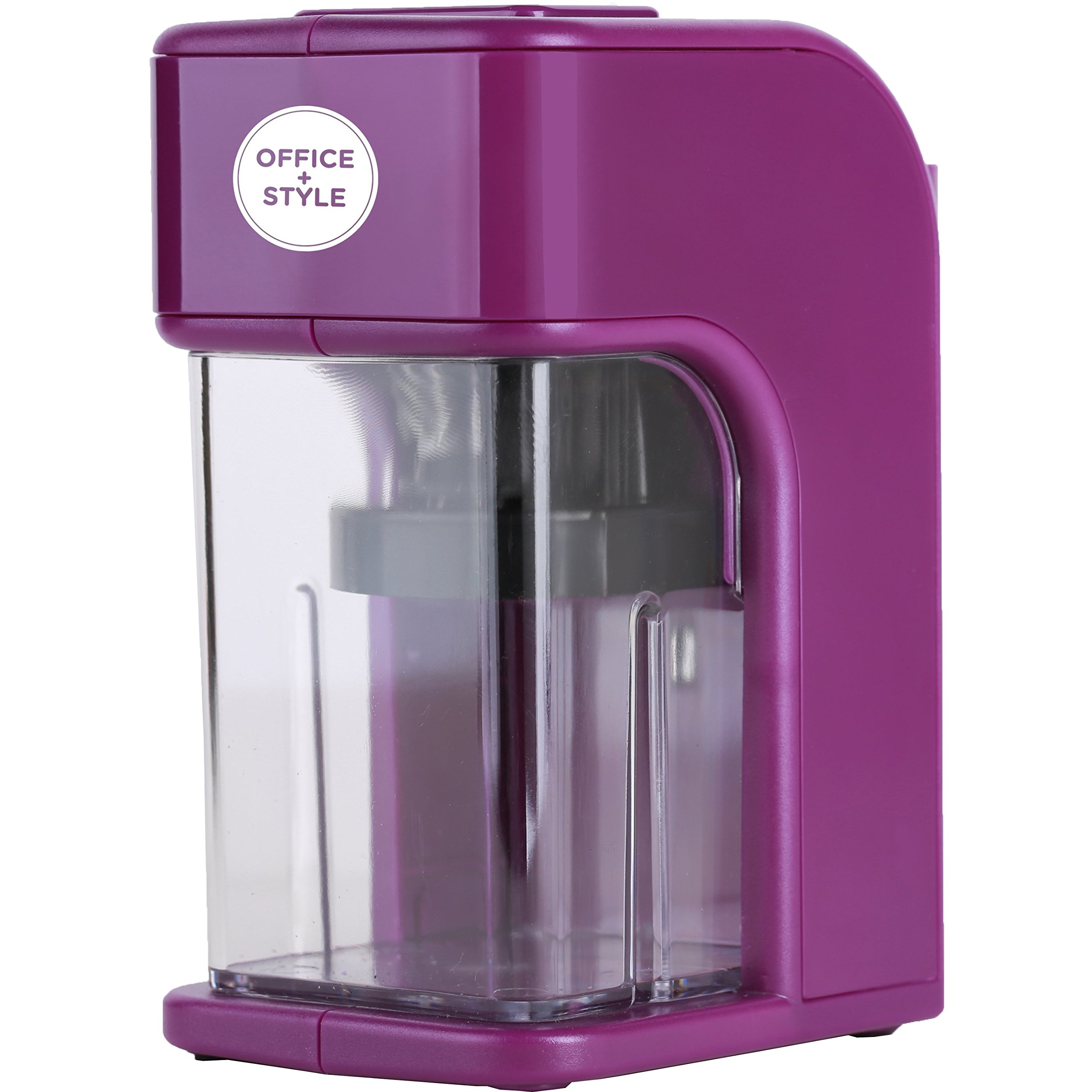 Electronic Pencil Sharpener With Auto Stop Safety Feature & Large Pencil Holder For Home, Office or Classroom, - Purple - By Office + Style