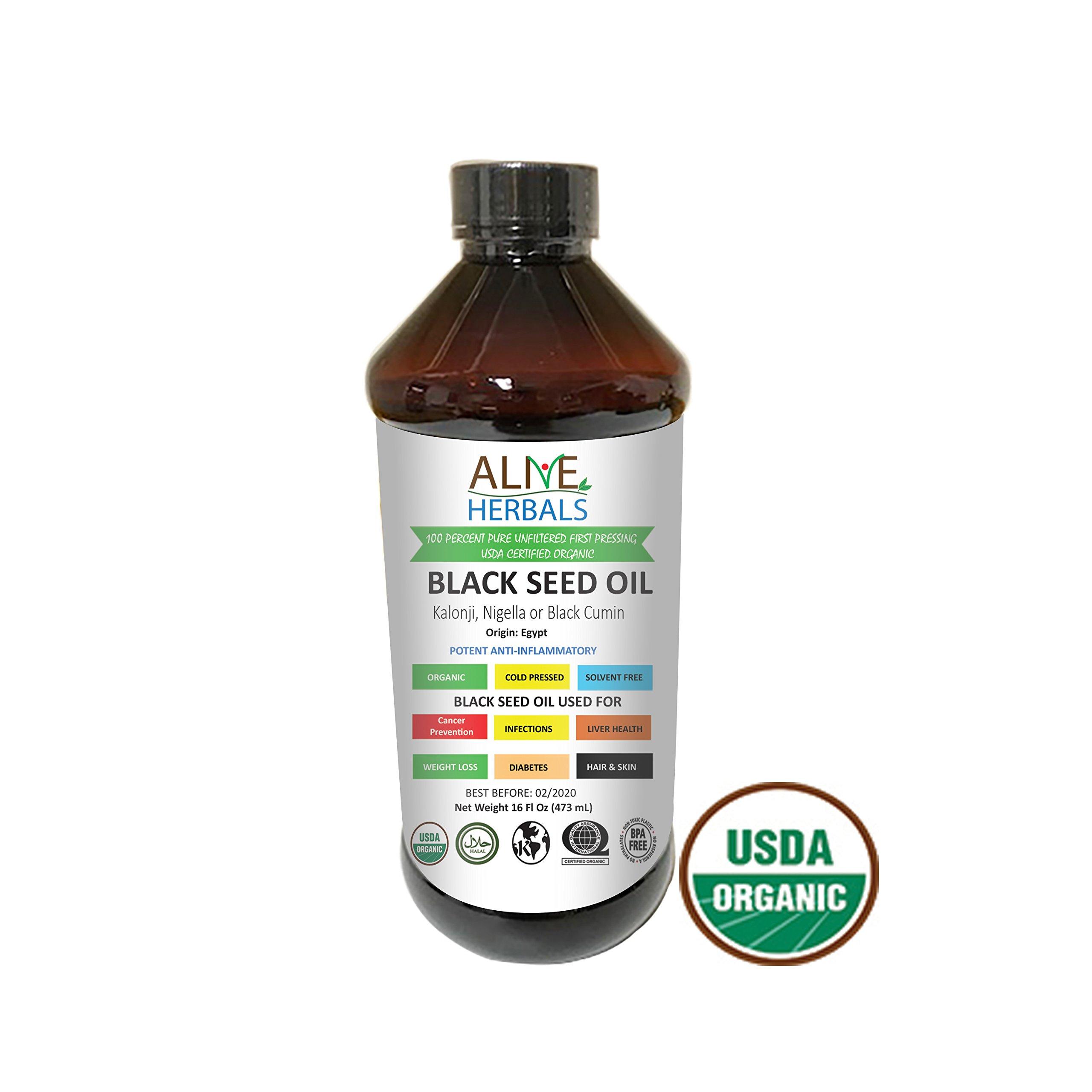 Alive Herbal Black Seed Oil - Egypt- Nigella Sativa - Virgin 100% Raw Organic Cold Pressed, Unfiltered, Vegan & Non-GMO, No Preservatives & Artificial Color- BPA Free Food Grade Plastic Bottle- 16 OZ.