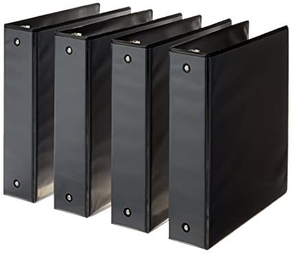 amazon com amazonbasics 3 ring binder 2 inch 4 pack black