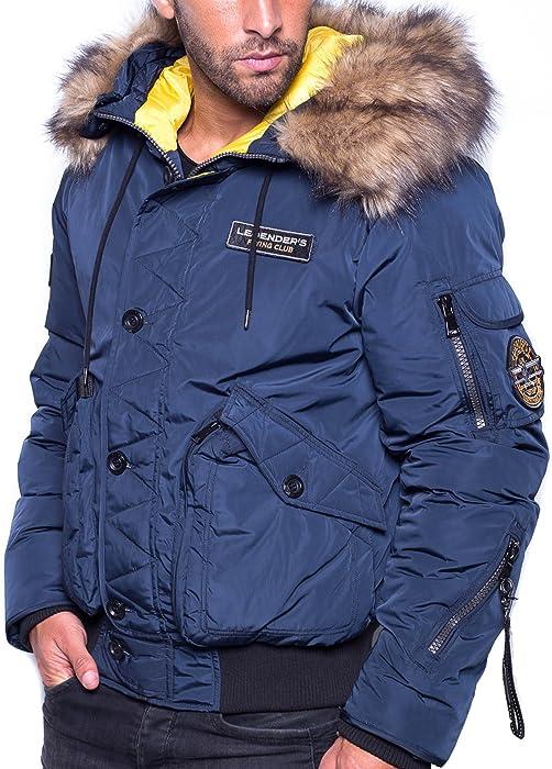 Suche nach Beamten Neueste Mode extrem einzigartig Legender`s Winterjacke Mann Marine mit Kapuze Pelz - Color ...