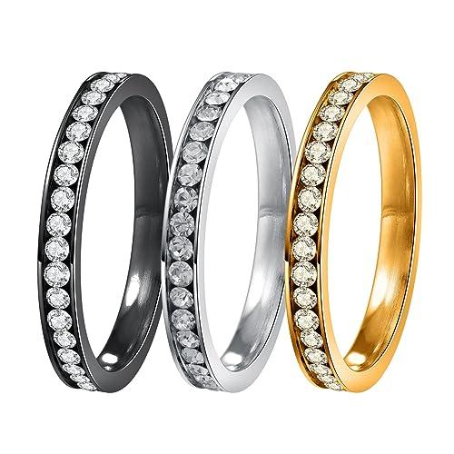 areke Cubic Zirconia Anillos de boda para mujeres hombres, 3 mm acero inoxidable CZ Eternidad