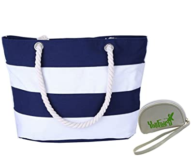 Amazon.com: Large Striped Cotton Canvas Beach / Tote Bag (Black ...