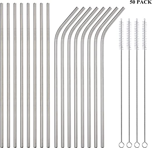 New 100pcs Metal Straws Can Be Reused 304 Stainless Steel Drinking Water Pipes