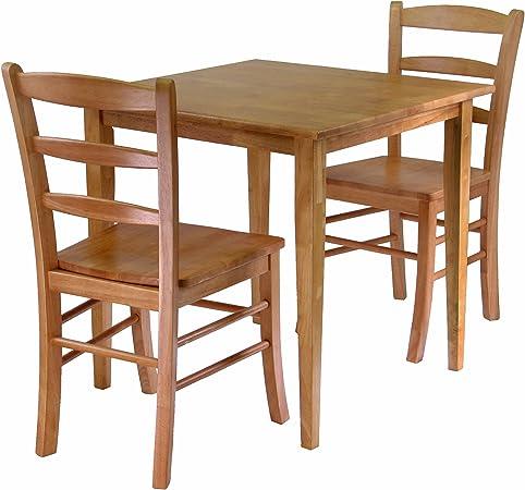 Winsome Groveland 3 Piece Wood Dining Set Light Oak Finish Table Chair Sets