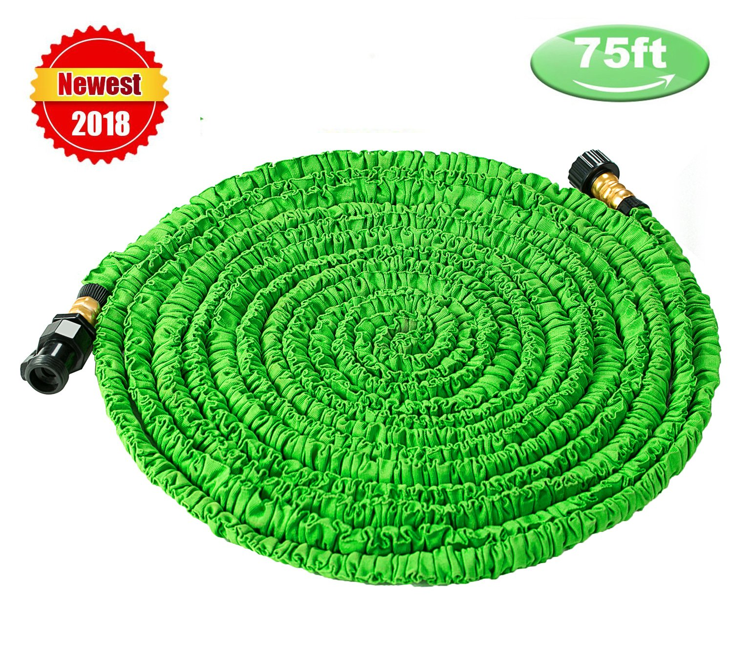 Wingogh Newest Expandable Garden Hose - 75ft Expanding Pressure Garden Water Hose, Latest Improved Extra Strength Fabric Protection Flexible Lightweight for Outdoor Watering Needs