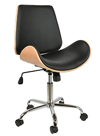 ts-ideen Silla para escritorio con ruedas diseño retro silla de bar club u oficina en negro