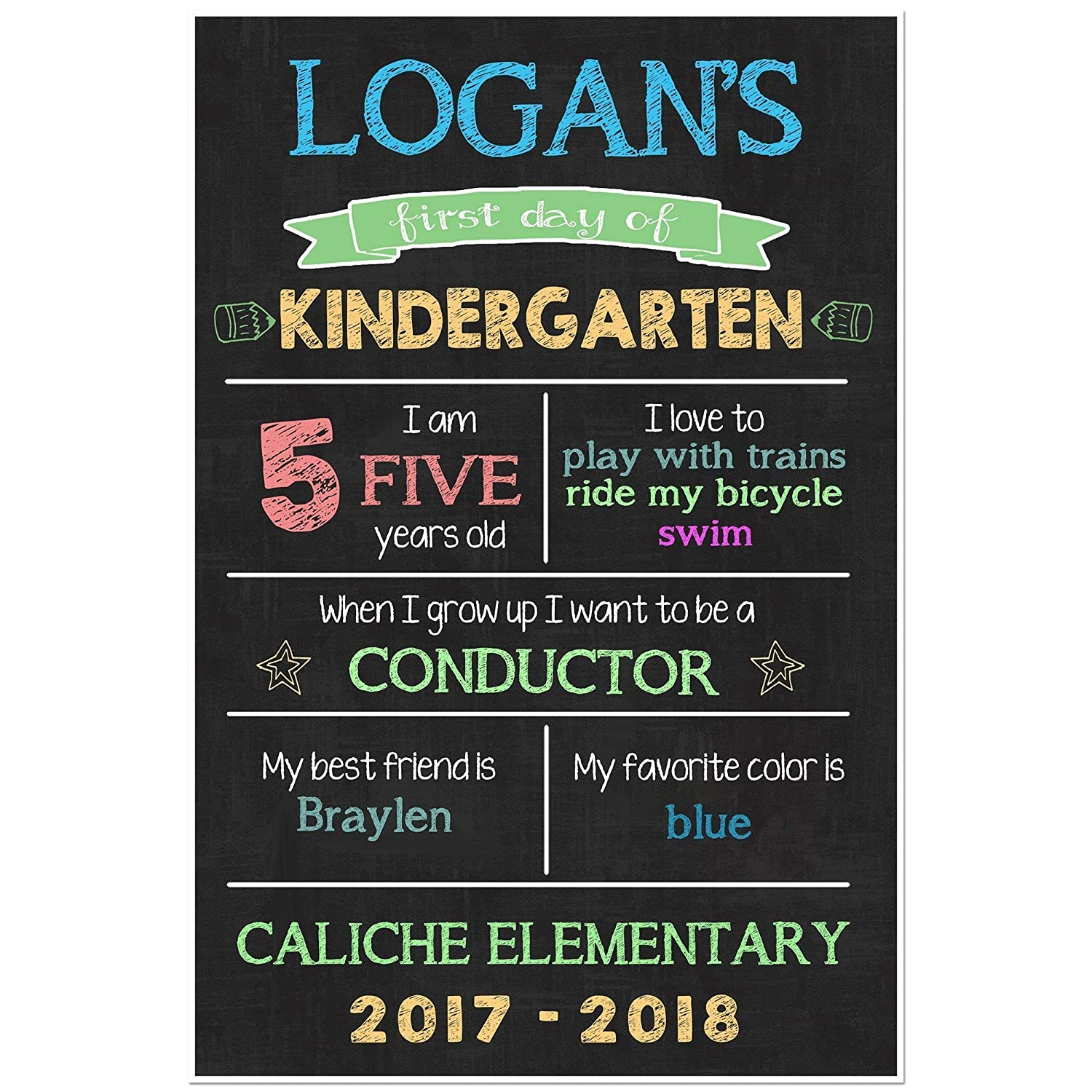 B071S1HLSY First Day of School Chalkboard Stats Sign Back to School Photo Prop Poster 81eRt9ymkSL