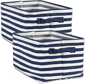 DII Cabana Stripe Collapsible Waterproof Coated Anti-mold Cotton Rectangle Basket Bin, Perfect For Laundry Room, Bedroom, Nursery, Dorm, Closet, and Home Organization, Set of 2 Small - French Blue
