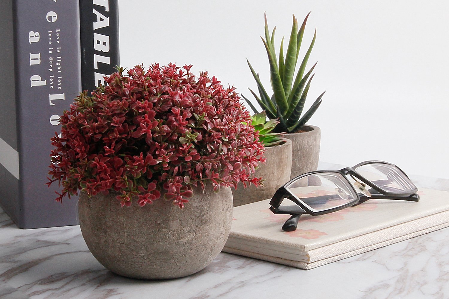 T4u Plastic Artificial Plants Potted Decorative Lifelike Love Flower For Home Office Decor Pack Of 3