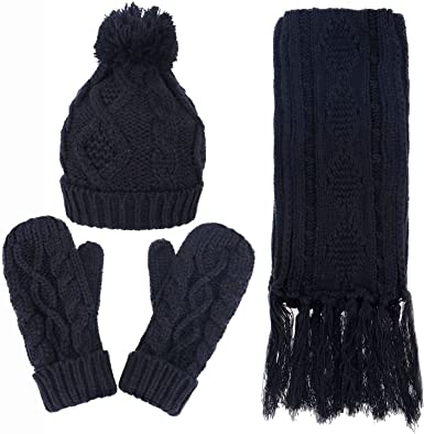 3 in 1 Women Knitted Beanies Winter Set with Soft Warm Knitted Hat Scarf and Gloves Gray