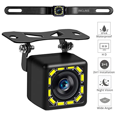 Car Backup Camera, Rear View Camera Ultra HD 12 LED Night Vision,Waterproof Reverse Camera 140° Wide View Angel with Multiple Mount Brackets for Universal Cars,SUV,Trucks,RV and More: Car Electronics [5Bkhe1002092]