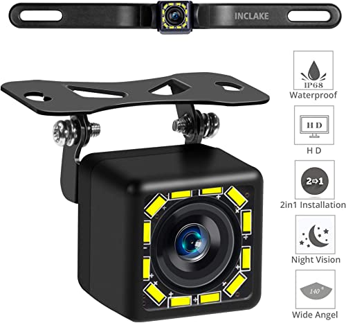 Car Backup Camera, Rear View Camera Ultra HD 12 LED Night Vision,Waterproof Reverse Camera 140 Wide View Angel with Multiple Mount Brackets for Universal Cars,SUV,Trucks,RV and More