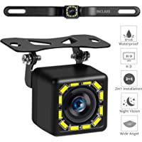 Car Backup Camera, Rear View Camera Ultra HD 12 LED Night Vision,Waterproof Reverse Camera 140° Wide View Angel with Multiple Mount Brackets for Universal Cars,SUV,Trucks,RV and More (HD)