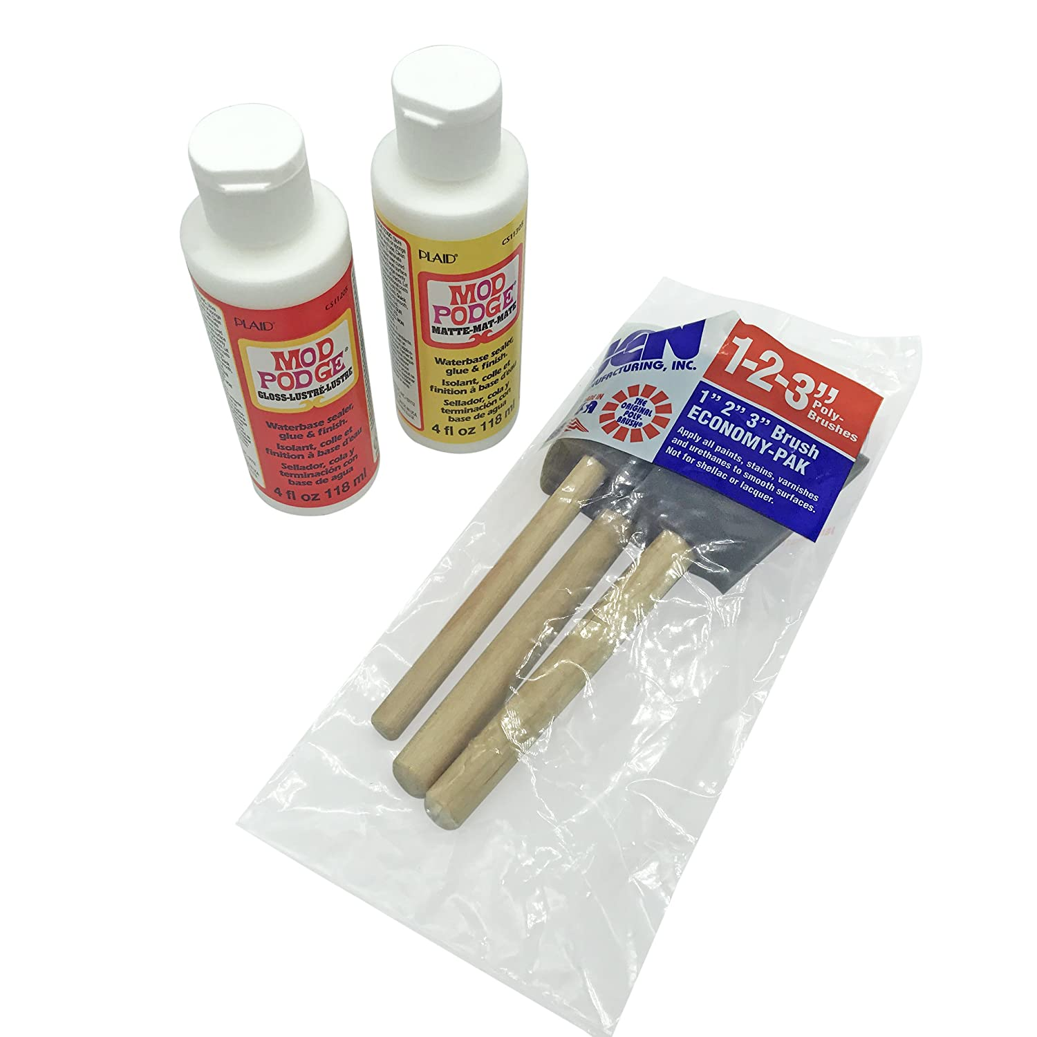 Mod Podge Gloss and Matte Starter Bundle Kit w/Poly Foam Brushes to Paint -  Glue Waterbase Sealer/Bonding, Protect DIY Arts and Craft Projects, Puzzle